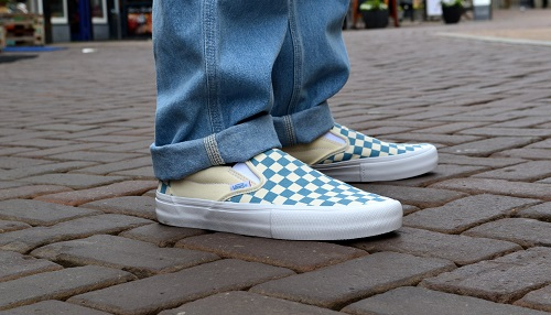 8bc14c7585 Vans Slip-On Pro Checkerboard Adriatic Blue White
